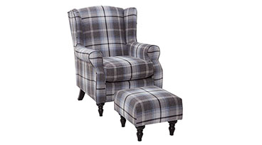 Fireside Chair + Stool Tartan